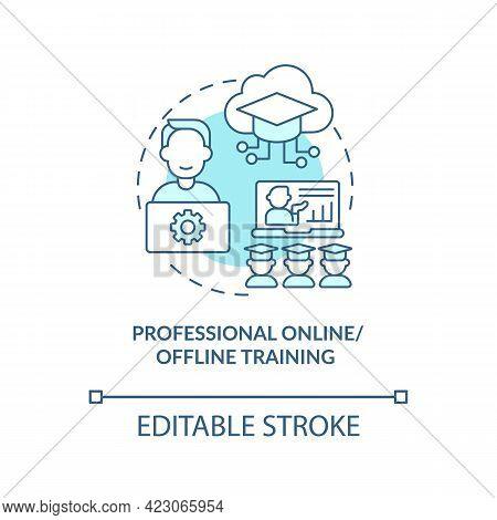 Professional Online, Offline Training Concept Icon. Community Development Abstract Idea Thin Line Il