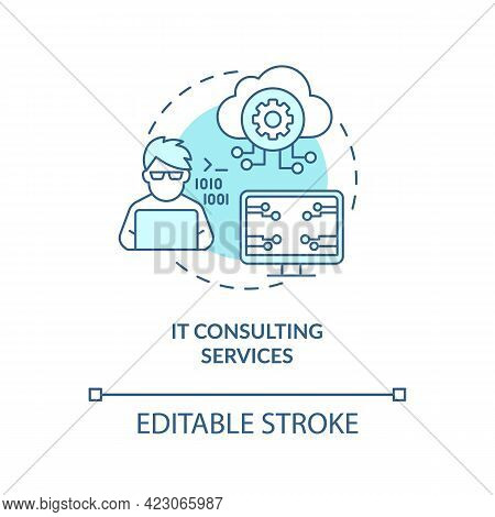 It Consulting Services Concept Icon. Community Development Abstract Idea Thin Line Illustration. Dig