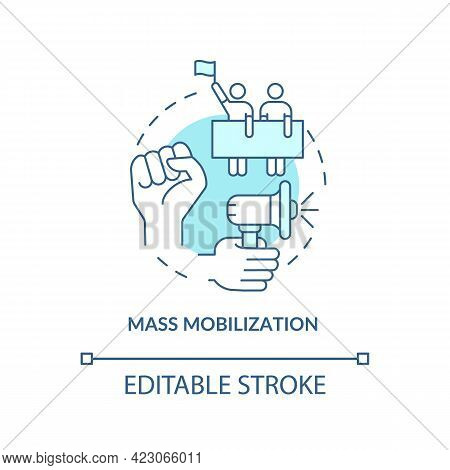 Mass Mobilization Concept Icon. Community Change Strategy Abstract Idea Thin Line Illustration. Stre