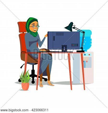 Happy Muslim Woman Ceo Reading Financial Report On Computer Screen Cartoon Vector. Happy Muslim Woma