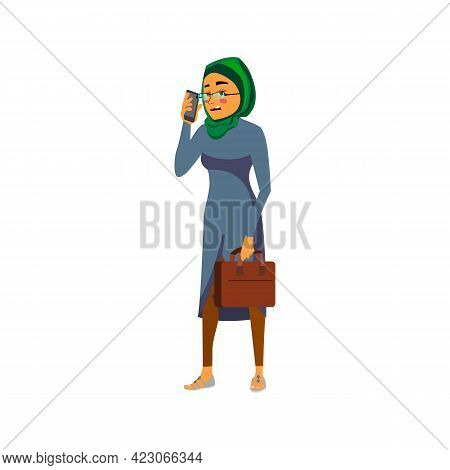 Tired Arab Woman Talking With Ceo On Phone Cartoon Vector. Tired Arab Woman Talking With Ceo On Phon