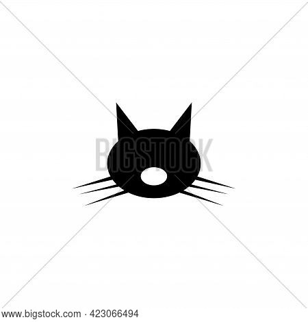 Cute Cat Head, Animal Whiskers Face. Flat Vector Icon Illustration. Simple Black Symbol On White Bac