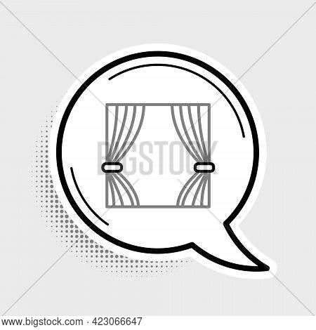 Line Curtain Icon Isolated On Grey Background. For Theater Or Opera Scene Backdrop, Concert Grand Op