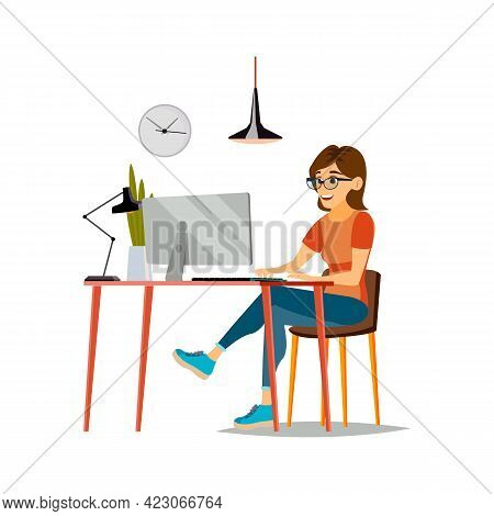 Woman Student Remote Educate In University Cartoon Vector. Woman Student Remote Educate In Universit