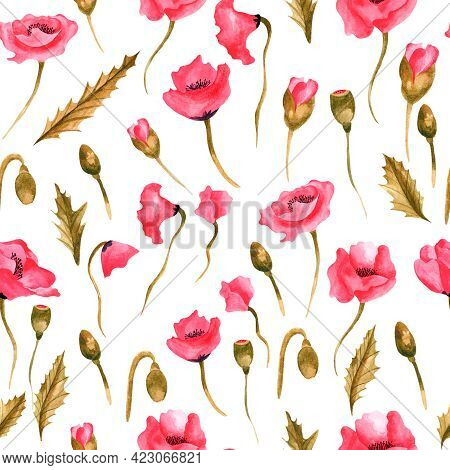 Watercolor Seamless Pattern With Red Poppies. Design Of Clothing, Fabrics, Wallpaper, Notebooks. Wat