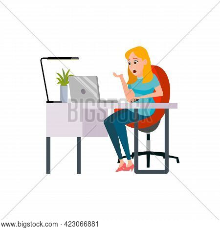 Shocked Woman Catch Virus On Laptop Cartoon Vector. Shocked Woman Catch Virus On Laptop Character. I