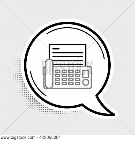 Line Fax Machine Icon Isolated On Grey Background. Office Telephone. Colorful Outline Concept. Vecto