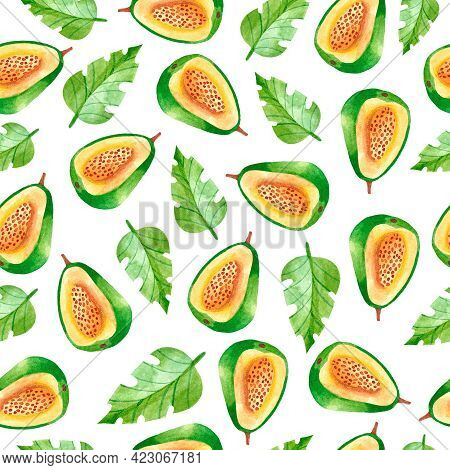 Watercolor Seamless Pattern With Tropical Guava. Pattern With Fruit. Watercolor Fabric Design With G