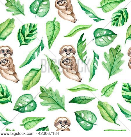 Watercolor Seamless Pattern With A Family Of Sloths And Leaves On A White Background. Mother Hugs Th