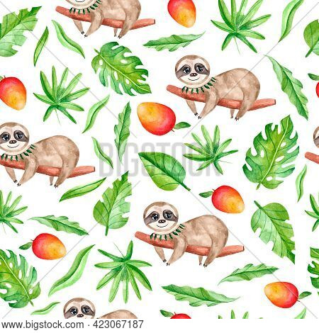 Watercolor Seamless Pattern With Sloths, Leaves And Mango On A White Background. Tropical Animals, F