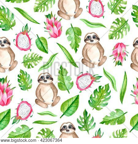 Watercolor Seamless Pattern With Sloth, Leaves, Pitahaya On A White Background. Tropical Animals And