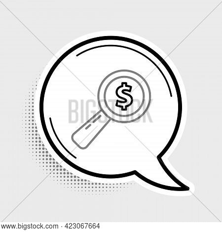 Line Magnifying Glass And Dollar Icon Isolated On Grey Background. Find Money. Looking For Money. Co