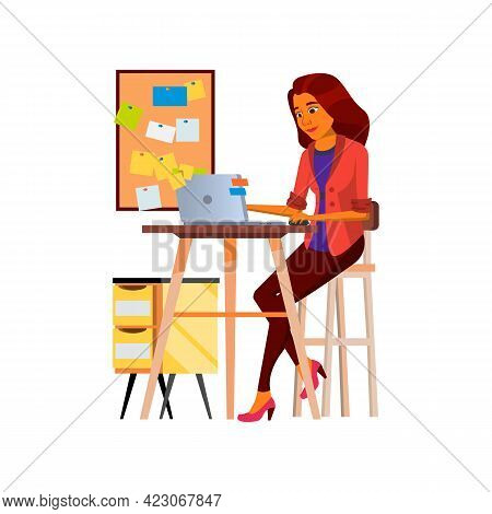 Cute Woman Manager Has Many Task At Work Cartoon Vector. Cute Woman Manager Has Many Task At Work Ch