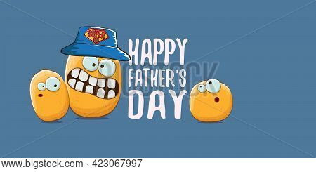 Happy Fathers Day Horizontal Banner With Cartoon Father Potato And Son Potato. Cartoon Funny Comic F