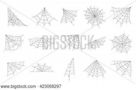 Hand Drawn Spider Web Or Halloween Cobweb.