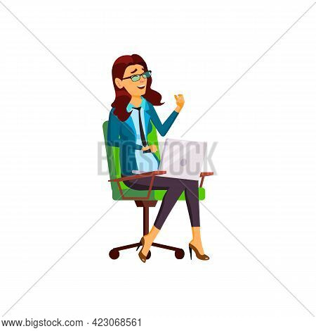 Laughing Woman Watch Funny Tv Show On Laptop Cartoon Vector. Laughing Woman Watch Funny Tv Show On L