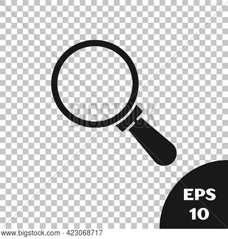 Black Magnifying Glass Icon Isolated On Transparent Background. Search, Focus, Zoom, Business Symbol