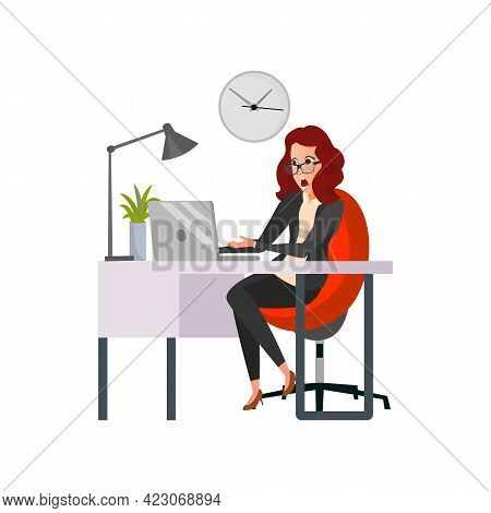 Woman Shocking From Broken Computer In Office Cartoon Vector. Woman Shocking From Broken Computer In