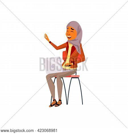 Happy Arabian Woman Chatting With Friend In Social Website Cartoon Vector. Happy Arabian Woman Chatt