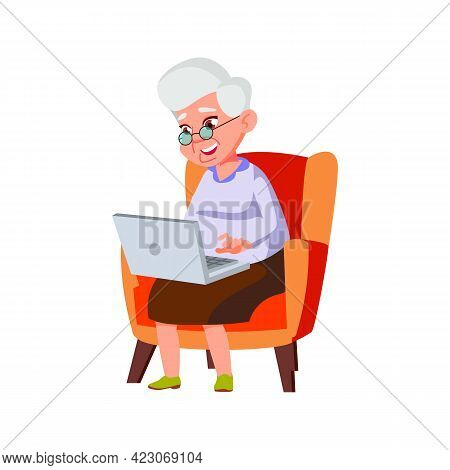 Old Lady Speaking With Children On Laptop Video Call Cartoon Vector. Old Lady Speaking With Children