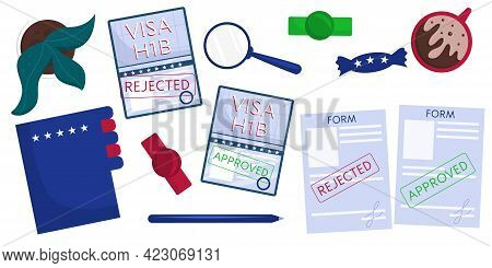 Set Of Isolated Objects On The Table, Top View, Passports With Visas, Files, Documents. Working Amer
