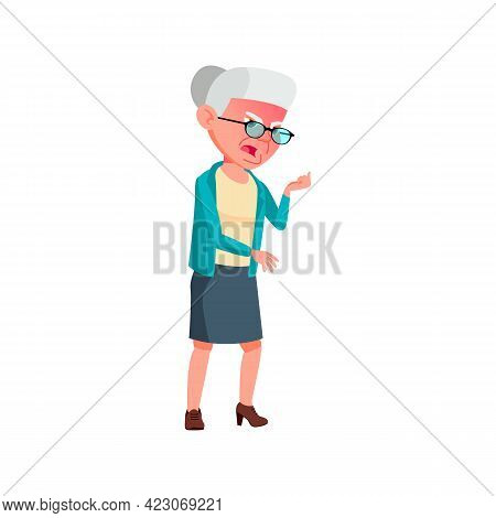Angry Pension Woman Growling At Store Manager Cartoon Vector. Angry Pension Woman Growling At Store