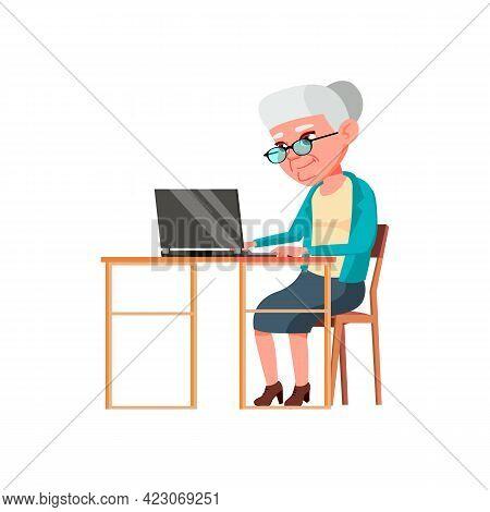 Mature Age Woman Buy Online Goods On Laptop Cartoon Vector. Mature Age Woman Buy Online Goods On Lap
