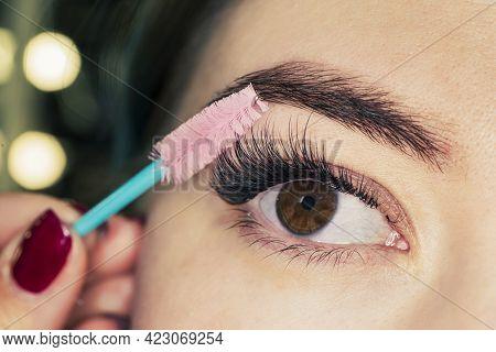 Mascara Applying. Long Lashes Closeup. Mascara Brush. Eyelashes Extensions. Makeup For Black Eyes. E