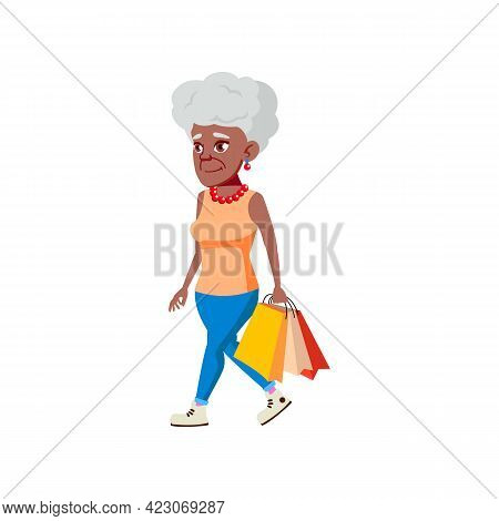 Stylish Old Woman Shopping In Fashion Store Cartoon Vector. Stylish Old Woman Shopping In Fashion St