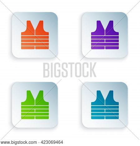 Color Life Jacket Icon Isolated On White Background. Life Vest Icon. Extreme Sport. Sport Equipment.