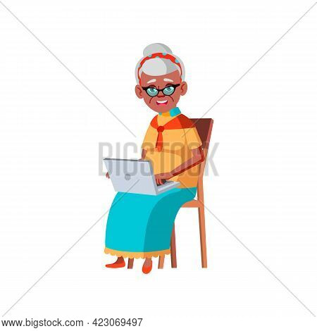 Happy Aged Woman Laughing From Funny Video Clip On Laptop Cartoon Vector. Happy Aged Woman Laughing
