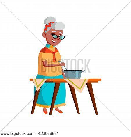 Woman Senior Prepare Dish In Kitchen Cartoon Vector. Woman Senior Prepare Dish In Kitchen Character.