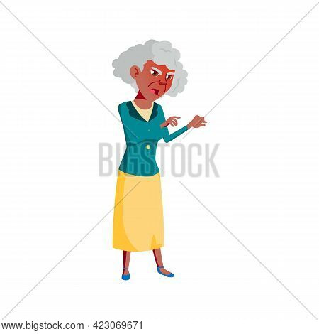 Angry Old Woman Shouting At Kids In Garden Cartoon Vector. Angry Old Woman Shouting At Kids In Garde