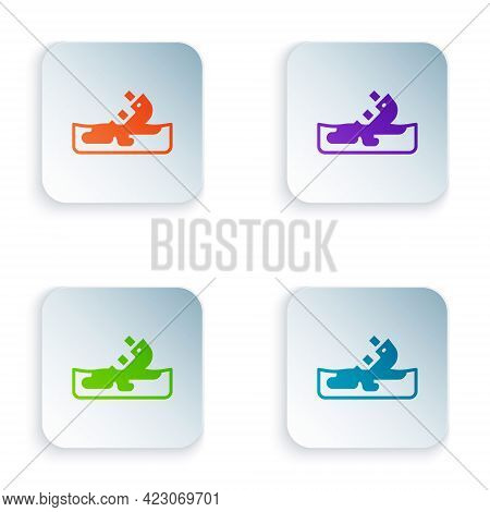 Color Wrecked Oil Tanker Ship Icon Isolated On White Background. Oil Spill Accident. Crash Tanker. P