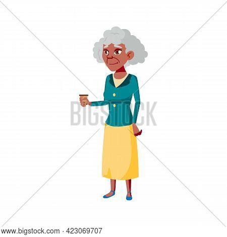 Grandmother Drinking Coffee In Cafe Cartoon Vector. Grandmother Drinking Coffee In Cafe Character. I