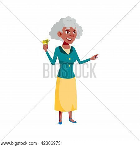 Old Woman With Money Banknotes Buying Goods On Market Cartoon Vector. Old Woman With Money Banknotes