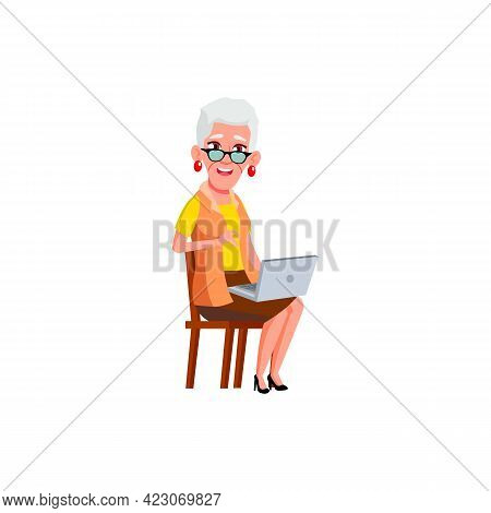Old Lady Using Laptop In Living Room Cartoon Vector. Old Lady Using Laptop In Living Room Character.
