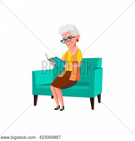 Old Woman Sitting On Sofa And Reading Book Cartoon Vector. Old Woman Sitting On Sofa And Reading Boo