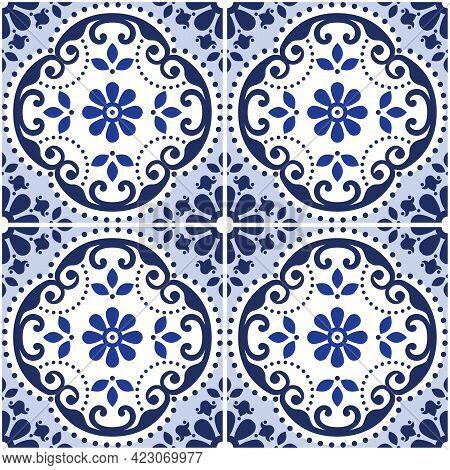 Lisbon Azulejo Tiles Seamless Vector Decorative Pattern, Portuguese Indigo Retro Design With Flowers
