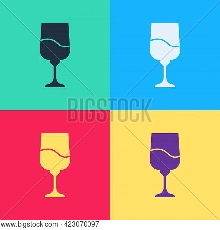 Pop Art Jewish Goblet Icon Isolated On Color Background. Jewish Wine Cup For Kiddush. Kiddush Cup Fo