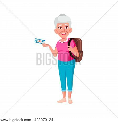 Happy Old Woman Traveler With Fly Ticket And Rucksack In Airport Cartoon Vector. Happy Old Woman Tra