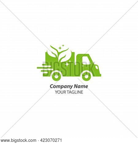Nature Delivery Icon Logo Design Element. Abstract Delivery Car Logo. Vector Logotype Design, Eps 10