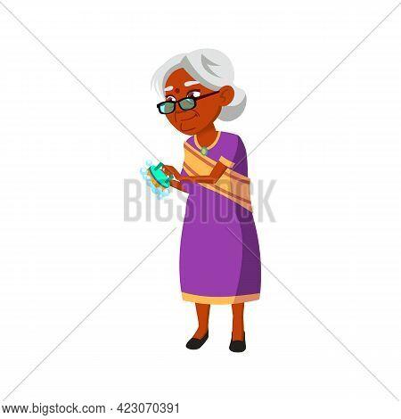 Indian Woman Senior Washing Ceramic Tiles In Bathroom Cartoon Vector. Indian Woman Senior Washing Ce