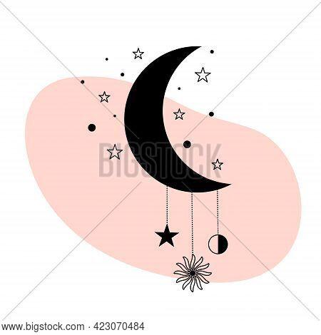 Abstract Contemporary Aesthetic Poster. Magic Celestial Talisman With Sun, Moon, Stars. Spiritual Oc