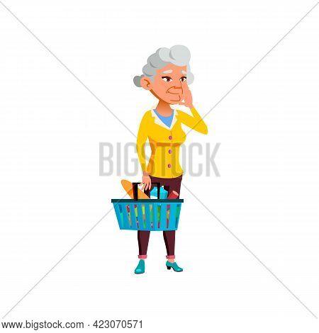 Old European Woman Choosing Food In Supermarket Cartoon Vector. Old European Woman Choosing Food In