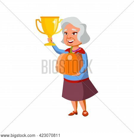 Elderly Woman Holding Pumpkin And Award Won On Agricultural Competition Cartoon Vector. Elderly Woma