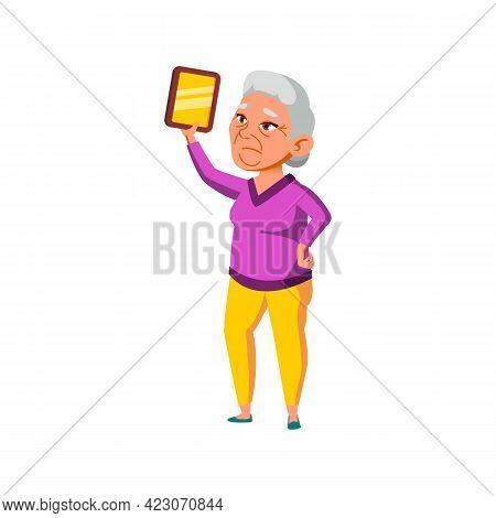 Granny Holding Photo Frame In House Cartoon Vector. Granny Holding Photo Frame In House Character. I
