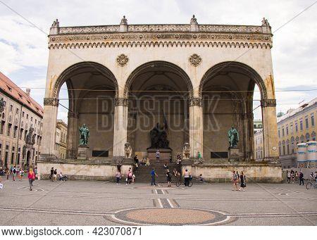 Feldherrnhalle Munich At Odeon Square - Munich, Germany - June 03, 2021 - Munich, Germany - June 03,