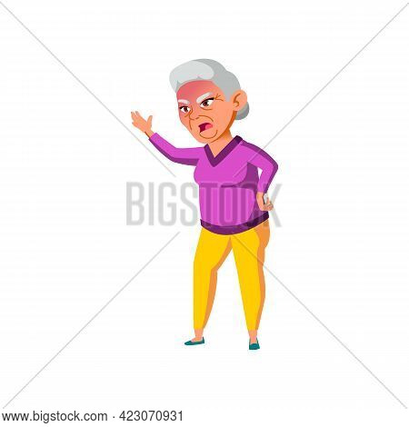 Crazy Mature Age Woman Shouting At Enemy In Retirement Home Cartoon Vector. Crazy Mature Age Woman S