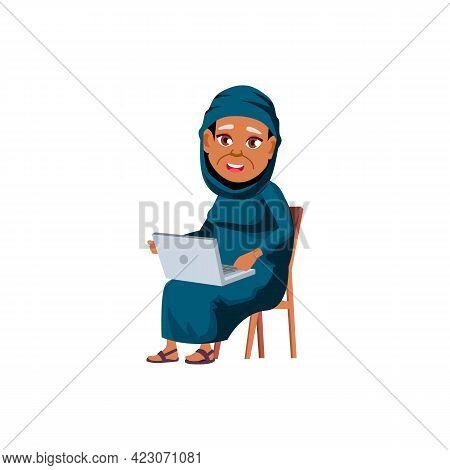 Islamic Woman Senior Watching Funny Movie On Laptop Cartoon Vector. Islamic Woman Senior Watching Fu